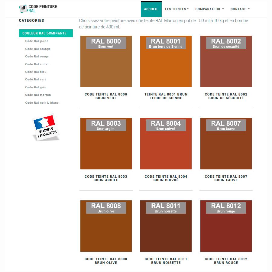 Nuancier peinture RAL Industrielle & voiture